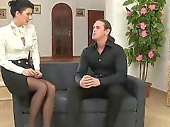Stockings milf drinks pee