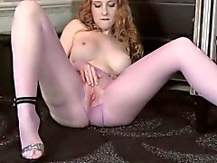 Ginger Rips Pantyhose And Rubs Her Pussy