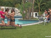 Outdoor lesbian orgy with Rachel Roxxx & more