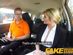 Fake Driving School Posh busty blonde examiner fucks