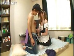 Hot naughty chick in a maid's uniform fulfills a guy's fantasy