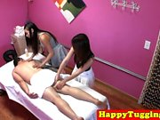 Oriental masseuses cockriding in a threesome