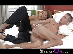 StrapOn Super hot dominant babe pegging fella
