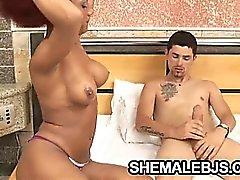 Big tit ebony shemale Gyslene Rodrigues enjoys sucking hard