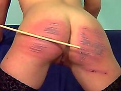 Horny slut gets her ass spanked hard