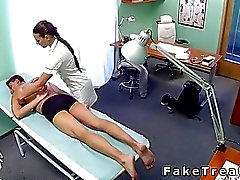 Nurse massages and bangs patient