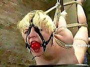 babe gets very unlucky getting caught and tied like a hog in ropes and with a ball gag