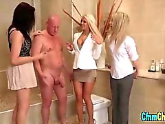 Clothed cfnm bitches eating a cock in the toilet