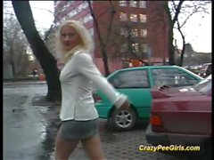 cute crazy teens loves to pee on public places