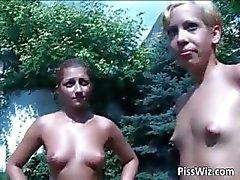 Outdoor lesbians show where sluts p1ss