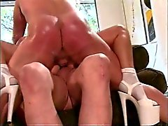 Two ripped dudes double-penetrate trampy c-cup latina