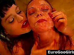 German bukkake sluts take cum facials from group of dudes