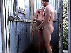 Sexy large tits MILF fucks outside