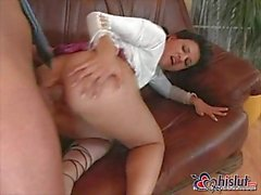 Brunette Slut Gets Pissed After Anal Screwing