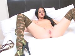 Stunning army girl with natural tits strips for the camera