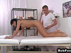 Brunette babe gets massage fucking