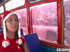 Juliana flashes Her nice latin boobs in a bus