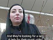 Czech brunette amateur bangs outdoor pov