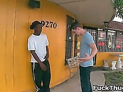 White trash gets sucked by black thug