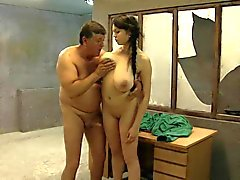Voluptuous babe fucked by grandad in a cell