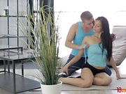 This young sporty couple needs no time to go from doing