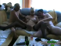 Furious gangbang for a busty blonde