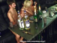 Teen girls play pool and drink totally naked