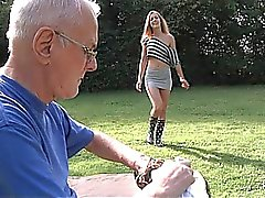 Lucky grandpa cleans young horny pussy