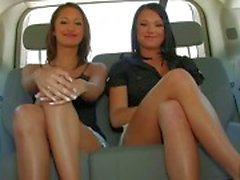 Three amazing lesbian chicks chatting and flashing tits in the car