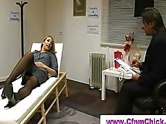 Cumshot for sleeping cfnm blonde lady