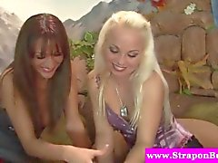 Strapon loving babes pegging dude