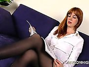 Lacy Has Solo Fun In Her Nylon Pantyhose