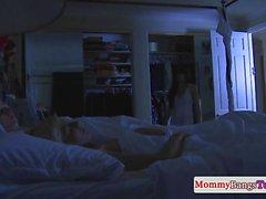 Cougar stepmom fucks young couple