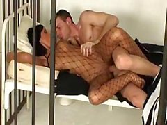 Sweet Angelika Black is fucked in jail in her fishnet lingerie