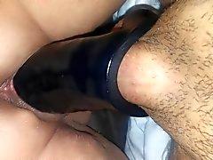 Sexy BBW wife's big clit pussy PAWG rides a BBC strapon