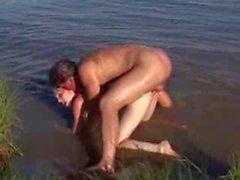 Spiaggia di nudi - classiche - in piccola per le Tette Redhead CIM viso