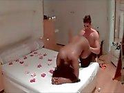 Ebony girl receive white dick in hotel - Saint Valentine\'s Day - homemade video