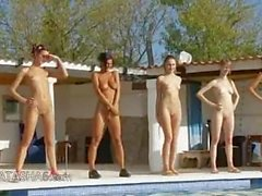 Six naked chicks by the pool from Russia