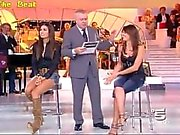 Upskirt no panties in TV