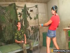 Teen fucked by old military man