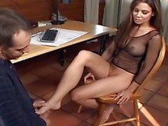 Foot fetish guy gets his dick sucked by hot slut