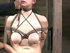 Bondage BDSM sub Bella Rossi pussy lips clamped