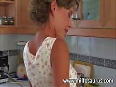 Housewife gets banged in the kitchen