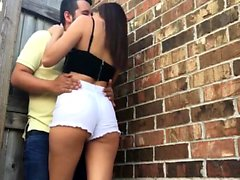Nasty girlfriend gives a blowjob outdoors