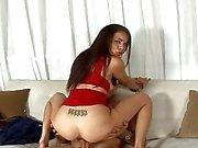 Amazing latina chick riding a pecker