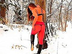 Roten Nylonstrumpfhose in Winter Gesamtstruktur