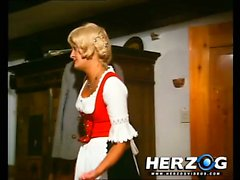 Blonde beauty strips and gets eaten by an old man
