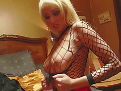 Hawt blond slut in fishnet receives hammered on the floor in three-some