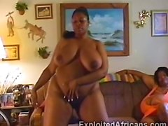 Massive big black African slut stripteases and masturbates