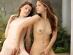 Two sweet teenies Rossy Bush and Dominique intimate lesbosex